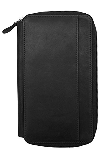 ili 7407 RFID Leather Zip Around Checkbook Wallet (Black) -