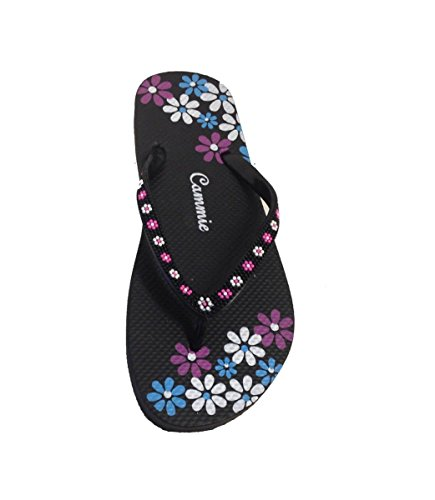 Women Beach Flip Flop Thong Sandal with flower pattern Straps Black wFxOy2TdG