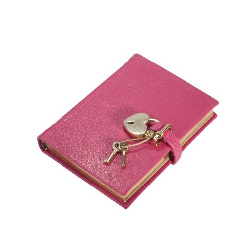 (Small Heart Lock Diary, Genuine Leather Hard Cover, 240 Lined Pages, 6 by Graphic)