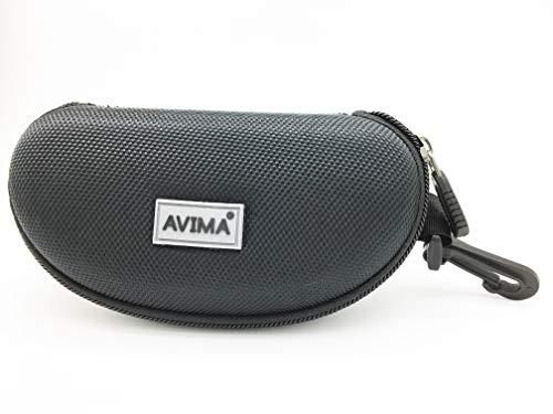 AVIMA Zipper Shell Sunglass Case Sports Size Sunglasses Safety Glasses With Belt Loop Clip Black