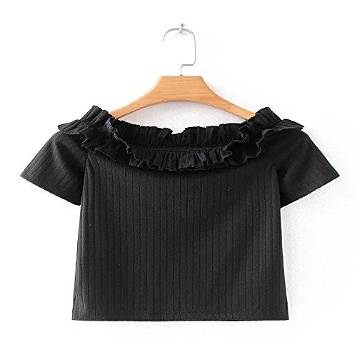 Lotus Hojas T Para Corta De Mujer shirt Vídeo Las Y Delgado Manga Elegante Los T Versátil Negro Bordes Verano ranurada Xmy Sau U6OFO