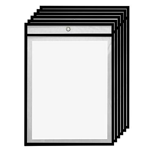 6 Pack Dry Erase Pockets - Black - by Essex Wares - for Teacher Lessons in a Classroom or for Use at Your Home or Office - Fits Standard 8.5