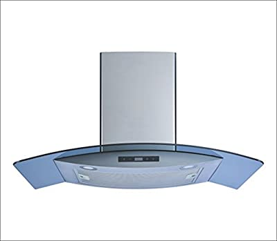 "Winflo 30"" Wall Mount Stainless Steel/Arched Tempered Glass Convertible Kitchen Range Hood with Touch Control, Aluminum Filter and LED Lights"
