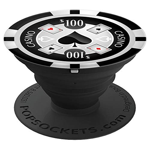 Black White Poker Chip for Texas Hold em Players Spade Cards - PopSockets Grip and Stand for Phones and Tablets