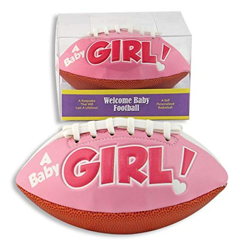 """""""IT'S A GIRL"""" FOOTBALL -BIRTH ANNOUNCEMENT/Keepsake/GIFT/Pink - INCLUDES DISPLAY BOX/Shower/CHRISTENING/NEW BABY GIFT 5"""" INCLUDES Plastic DISPLAY Box from Special Day Sports Balls"""