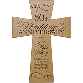 30th Wedding Anniversary Maple Wood Wall Cross Gift For Couple 30 Year Gifts