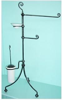 piantana combinata 4 per bagno linea relax nero argento in ferro battuto