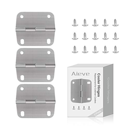 Cooler Hinges Replacement for Coleman Coolers,3 Pack Stainless Steel Cooler Replacement Hinges and Screws Set Replacement for Coleman Coolers Accessories