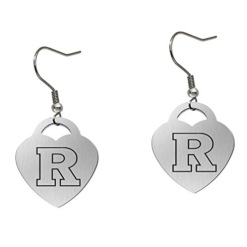 (Rutgers University Scarlet Knights Satin Finish Large Stainless Steel Heart Charm Earrings - See Model for Size Reference)