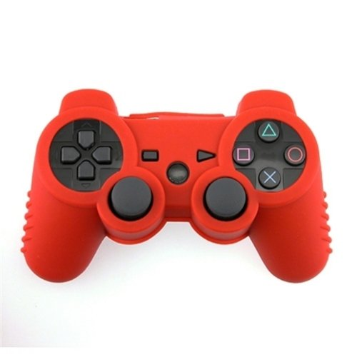 eForCity Silicone Skin Case Compatible with Sony PS3 Controller, Red