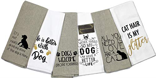 Rustic Covenant Woven Cotton Love My Pet Tea Towels, 27 inches by 16 inches, Set of 6