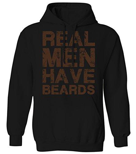 Black Playoff Beard (Real Men Have Beards - Distressed Funny Facial Hair Mens Hoodie Sweatshirt (Black, Large))