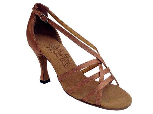 Zapatillas De Salón De Baile Para Mujer De Baile Latino Salsa Tango Signature S9279 Tan Satin 3 Heel