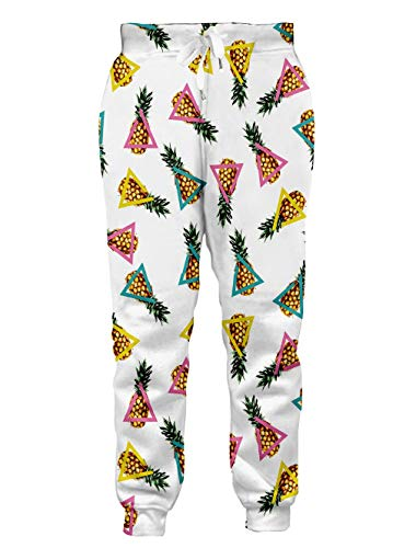 Loveternal Tall Sweatpants for Men Teenager Joggers Triangle White Yellow Pineapple Pattern Sport Comfy Pants Joggers Baggy Sweatpants for Boy Girl S