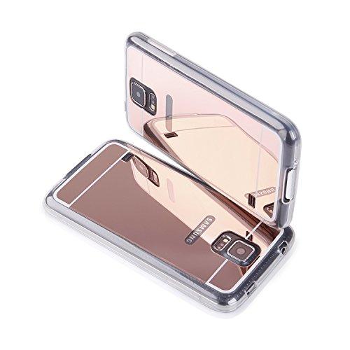 """'Housse étui en silicone TPU Coque Étui transparent """"Mirror"""" pour """"Samsung Galaxy S5Neo Cover Rose Coque Housse Bumper"""