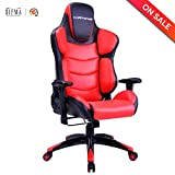 Racing Gaming Chair Ergonomic High-Back Oversized Office Executive Chairs Adjustable Height PU Leather Computer Desk Chair (Red) LCH
