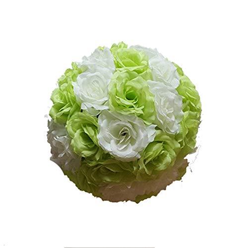New 15Cm/20Cm/25Cm/30Cm Artificial Flower Ball Centerpieces Silk Rose Decorative Hanging Flower Ball Wedding Kissing Ball Decor Cream White Green -
