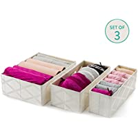 Drawer Organizer Clothing (Galliana) - Set of 3- Collapsible Storage Bins - Mold & Dust Proof Storage Boxes- Breathable...