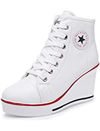 Women's Wedges Sneaker High-Heeled Canvas Shoes Platform...