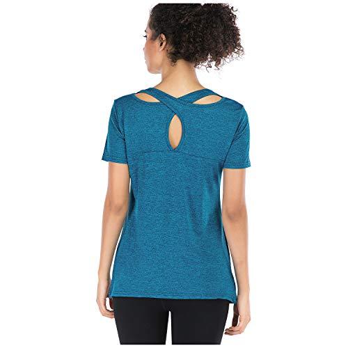 Metme Women Workout Tank Tops Exercise Yoga Shirt Cross Back Activewear Gym Top Blue