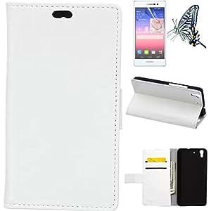Mobilefashion Funda de PU Cuero Case para Huawei Honor 4A (Blanco) Con Soporte Plegable y Ranura para tarjeta + 1x protector de pantalla gratis
