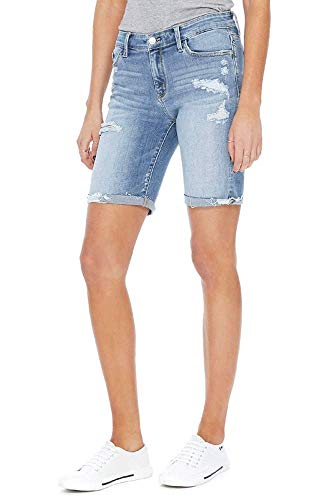 - Off to Bermuda! Destructed Long Denim Short (Light Wash, Large)