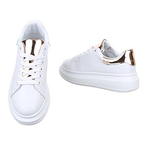 Ital-Design - Zapatillas de casa Mujer Weiß Gold