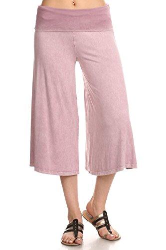 (HEYHUN Women's Solid Mineral Washed Tie Dye Wide Leg Flared Capri Boho Gaucho Pants - Light Pink)