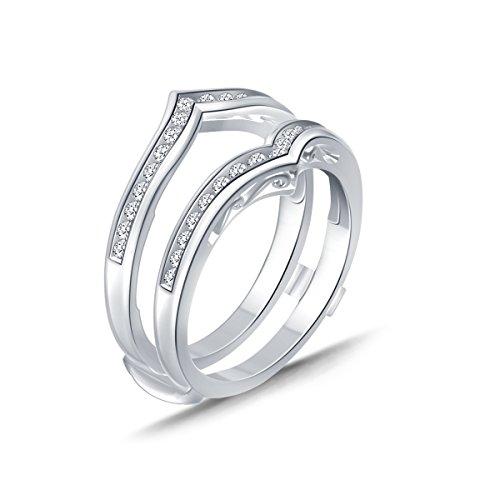 0.38 Cttw Chevron Diamond Guard Ring Solitaire Enhancer In 10k White Gold (IJ/I2-I3)