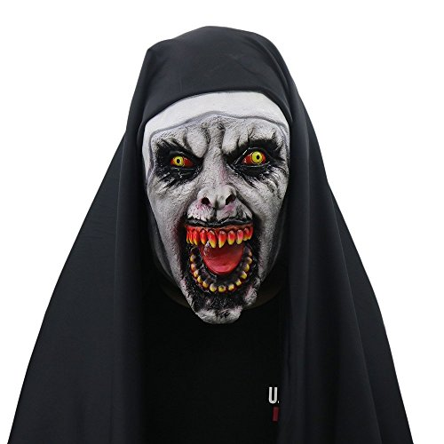 Yacn Halloween Nun Costume for Women,2018 Nun Mask with Veil Scary Zombie Mask (Nun)