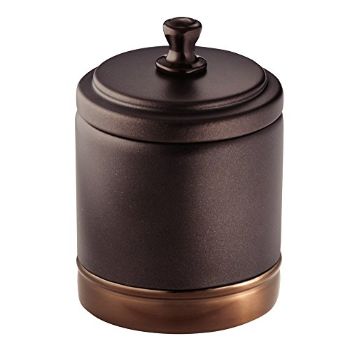 al Bathroom Vanity Canister Jar for Cotton Balls, Swabs, Cosmetic Pads - Split Bronze (Pads Swabs)
