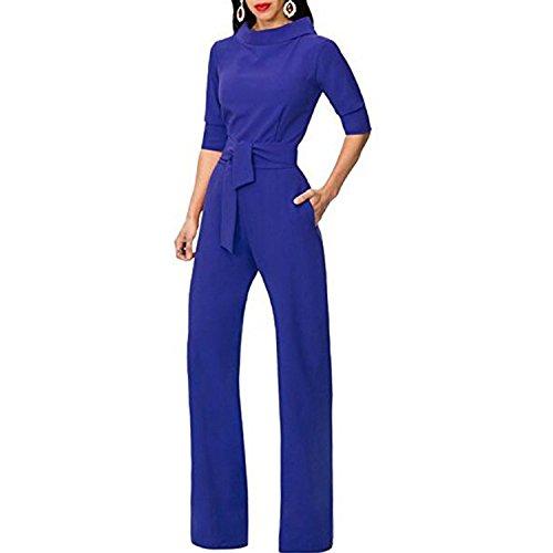 (Kebinai Unique Women Solid Jumpsuit Romper Turn Down Collar Wide Leg Pants Trousers,XX-Large,Blue)
