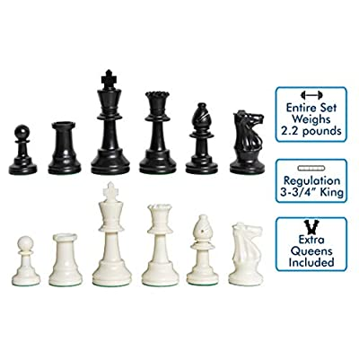 US Chess Federation's Triple Weighted Tournament Staunton Plastic Chess Pieces - 3.75