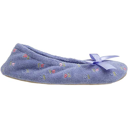 Terry Women's Embroidered Perriwinkle Ballerina Isotoner Slipper 6YwOx