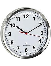Hainice Väggklocka tyst radiostyrd kvarts icke-tickande klocka med rund dekorativ för hemmakontor skola vit