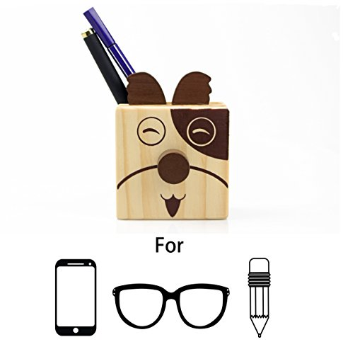 Excelity Wooden Cute Animal Shaped Multi Purpose Use Holder Organizer for Pencil Stationery Eyeglass Phone (Puppy)