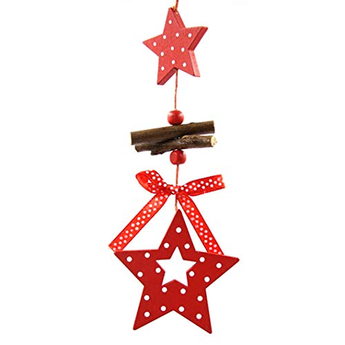 Star Pendant Angelic (CAHEDSD 5PCS/Lot DIY Red Christmas Snowflakes&Star&Tree Wooden Pendants Ornaments Home Christmas Party Tree Kids Gifts Decorations Star)