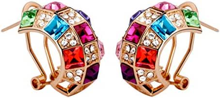 T400 Jewelers Women's Accessories Rainbow Swarovski Crystal Clip-on Earings (2.1 X 1.1cm)