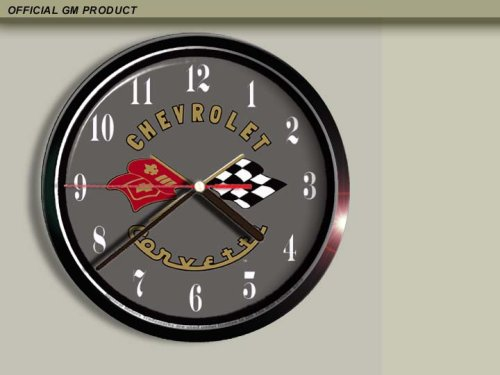 cross-flags-chevrolet-corvette-wall-clock