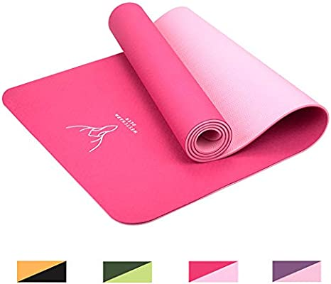 Westcharm Deer Yoga Mat Thick 6mm Workout Mat Non-Slip Fitness Exercise Mat with Carrying Bag for Yoga Pilates Floor Exercises(72X24)
