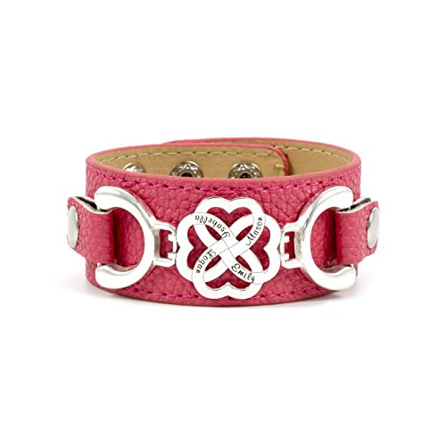 Personalized and Interchangeable Four Hearts As One PU Leather Bracelet. 4-Heart 925 Charm with Customized Names. Adjustable for Best Fit. Up to 13 Colors Available. Interchangeable Colors and Styles by AJ's Collection