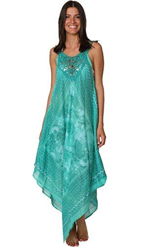 (INGEAR Crochet Dress Bandana Tank Summer Beachwear Handkerchief Fashion Cover Up (One Size, Green))