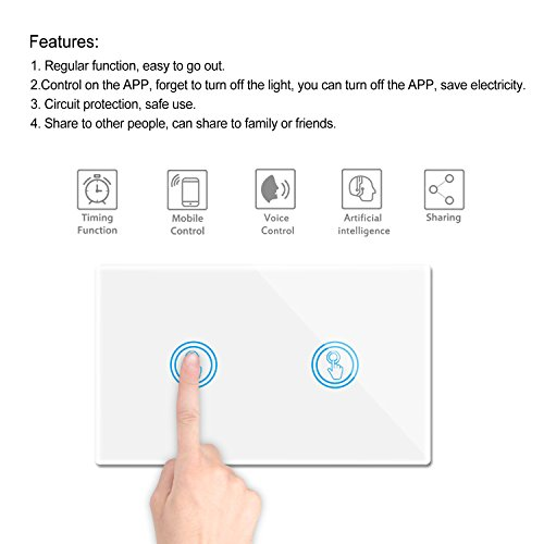 Smart Wifi Light Switches Touch Wall Switch Panel Replace 2 Switches in 1 Gang Wall Box Combination Smart Light Switch Compatible with Alexa and Work with Google Home and IFTTT Smartphone App Contro by Youngzuth (Image #7)
