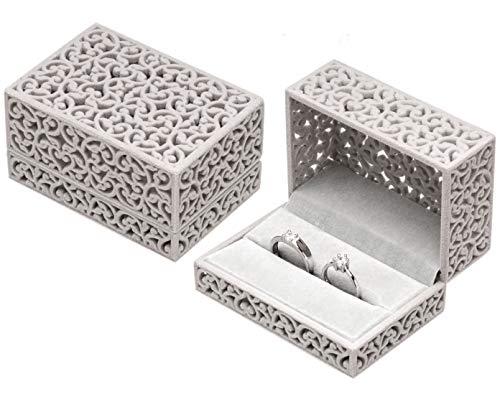 Hollow Velvet Ring Box Velvet Jewelry Box for Rings Couple Double Ring Bearer Box Engagement Gift