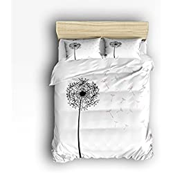 Family Decor White Black Dandelion Print Home Comforter Bedding Sets Duvet Cover Sets Bedspread for Adult Kids,Flat Sheet, Shams Set 4Pieces,4 Pcs Queen Size for Kids Teenage Teens