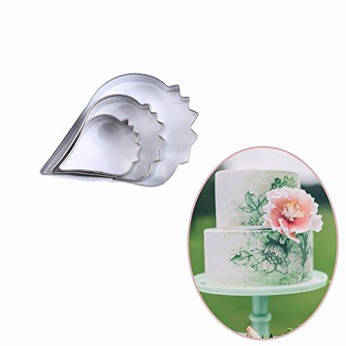 SK 3-Piece Poppy Petal Cutter Kit Cake Decorating Gumpaste Flowers Set Stainless Steel