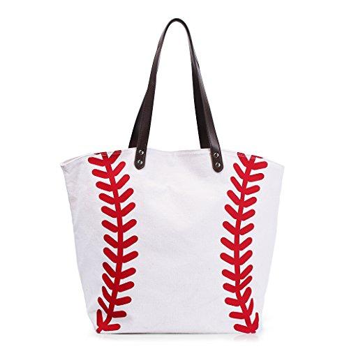 Baseball Bag Handbag for Woman Shopping Bag Travel Bag YIQIGO On Sale Canvas Casual Bag with Polyester Linning Sports Bag (White)