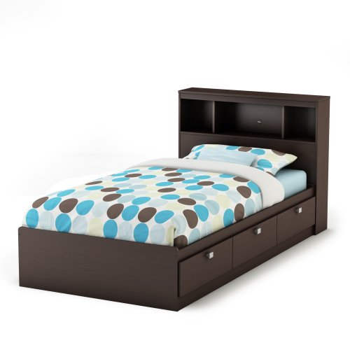 Shore Station Clock - South Shore Cakao Twin Storage Bed and Bookcase Headboard, Chocolate