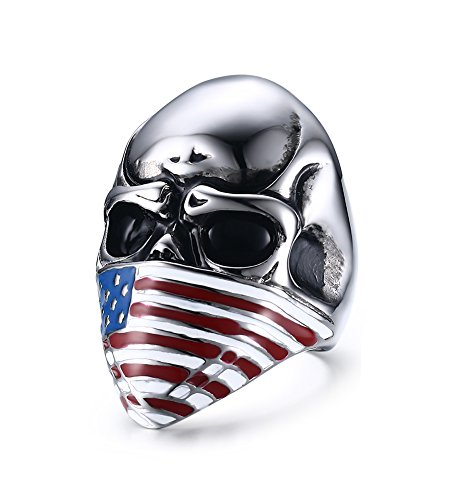 Men's Vintage Gothic Stainless Steel American Flag Mask Skull Biker Band Rings Punk Jewlery With Gift Box (Vintage Jewlery Boxes)