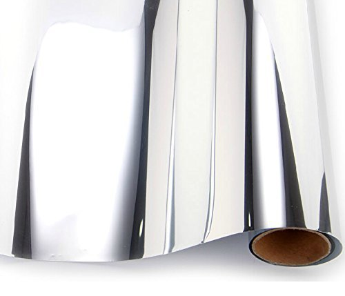 BESTERY self-Adhesive Reflective Chrome Mirror Silver Vinyl Wrap Sticker Decal Film Sheet 12''X60''